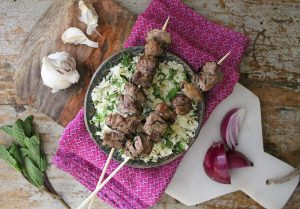 Keto Lamb Kebabs with Cauliflower Couscous