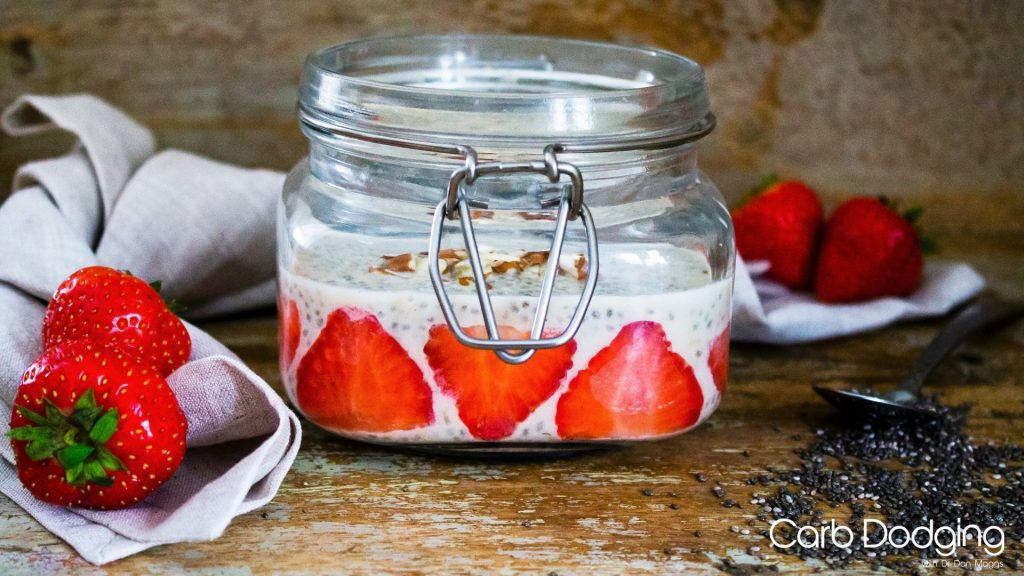 Keto Almond and Strawberry Breakfast Chia Pudding