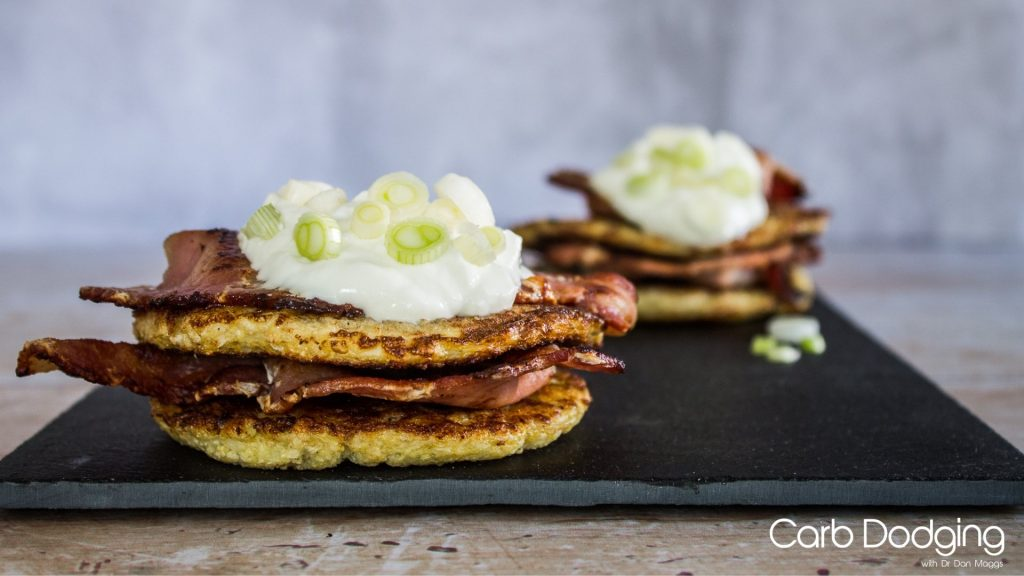 Keto Cauliflower Hash Browns with Bacon and Sour Cream