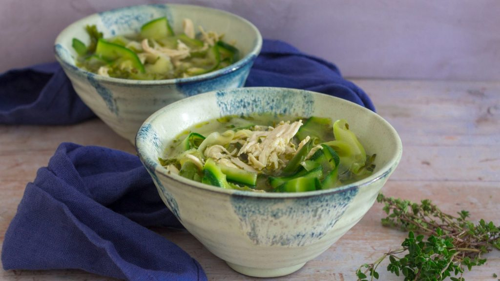 Keto Chicken Courgette Noodle Soup
