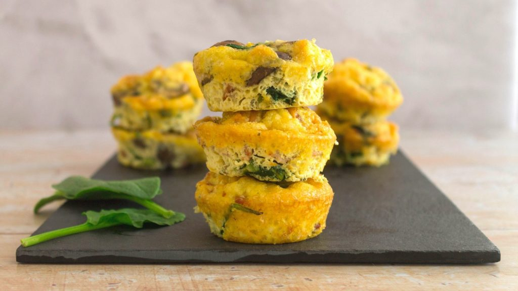 Low Carb Bacon, Spinach and Mushroom Egg Muffins