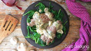 Keto Sirloin Steak Rolls with Gorgonzola and Mushroom Sauce