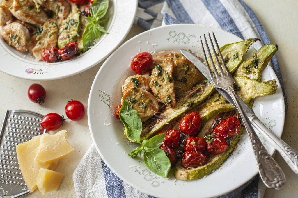 Low Carb Pesto Chicken and Baked Courgette